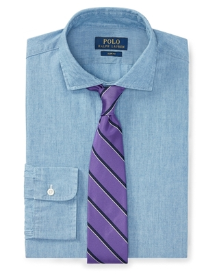 Ralph Lauren Slim Fit Chambray Shirt in French Blue - Size 15