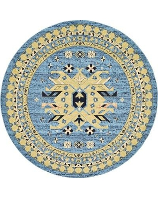 World Menagerie Valley Light Blue Area Rug WDMG5975 Rug Size: Round 8'