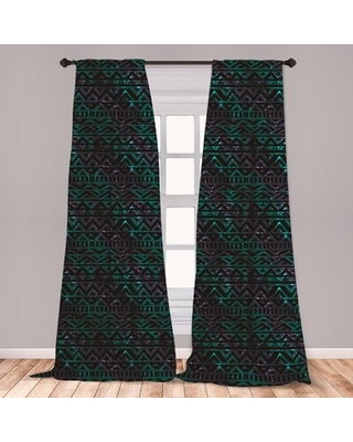 Ambesonne Grunge Curtains, Hand Drawn Space And Cosmos Themed Arrow And Triangle Pattern Vintage Aztec Motifs, Window Treatments 2 Panel Set For Livin
