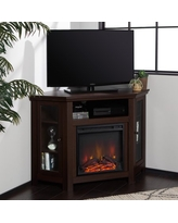 """Walker Edison Espresso Corner Fireplace TV Stand for TVs up to 55"""""""