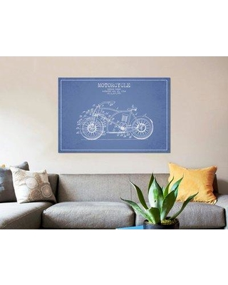 """East Urban Home 'George Pamer Motorcycle Patent Sketch' Graphic Art Print on Canvas in Light Blue ERBR0123 Size: 12"""" H x 18"""" W x 1.5"""" D"""