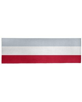 """East Urban Home Los Angeles Striped Red/White/Silver Area Rug FCOL9413 Rug Size: Runner 2'6"""" x 8'"""