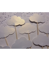 White Shimmer Cloud Cupcake Toppers - Baby Shower Food Picks - Party Picks - Appetizer Picks - Baby Boy Baby Girl Shower - Baby Sprinkle (Set of 24)