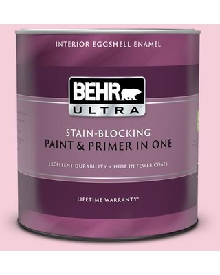 BEHR ULTRA 1 qt. #120C-1 April Blush Eggshell Enamel Interior Paint and Primer in One