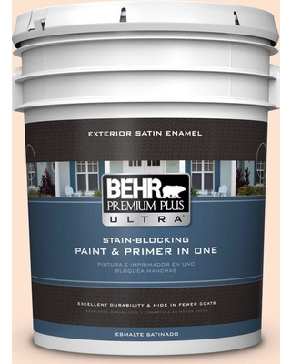 BEHR Premium Plus Ultra 5 gal. #280C-1 Champagne Ice Satin Enamel Exterior Paint and Primer in One