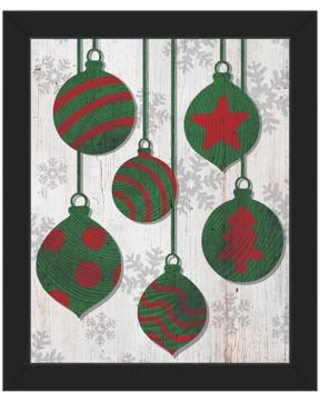 """Click Wall Art 'Green with Red Tree Ring Ornaments ' Framed Graphic Art IXM0000032F Size: 16.5"""" H x 13.5"""" W Format: Black Framed"""