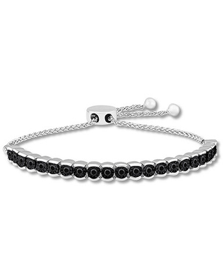 Jared The Galleria Of Jewelry Black Diamond Bolo Bracelet 1/2 ct tw Sterling Silver