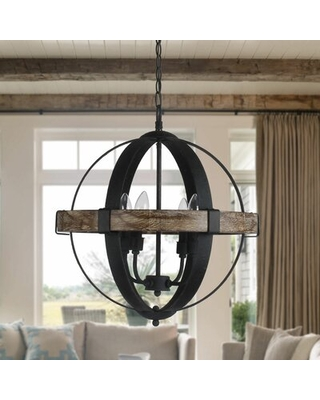 Hillsboro 4 - Light Candle Style Globe Chandelier with Wood Accents