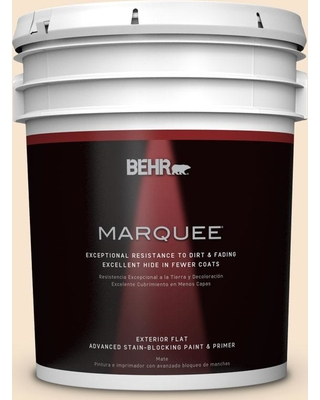 BEHR MARQUEE 5 gal. #OR-W3 Mannequin Cream Flat Exterior Paint and Primer in One