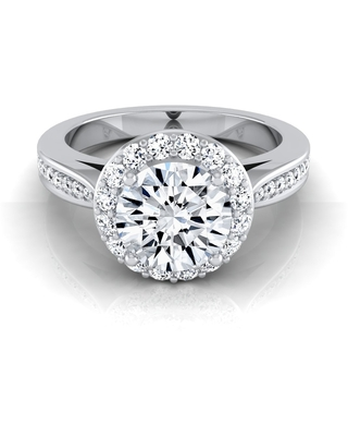 1 1/5ctw Round Diamond Halo Engagement Ring With Pave Shank In 14k White Gold, Igi-certified (6)