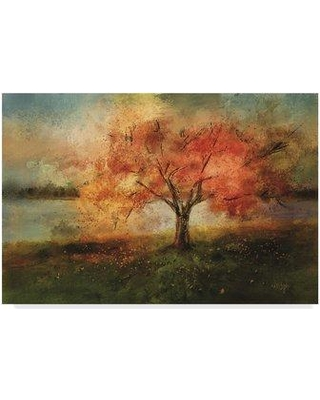 """Trademark Art 'Cherry Tree Sprinkled with Spring' Print on Wrapped Canvas LBr00346-C Size: 12"""" H x 19"""" W"""