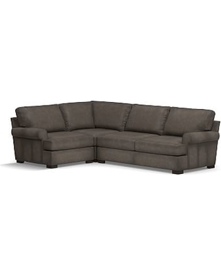 Townsend Roll Arm Leather Right Arm 3-Piece Corner Sectional, Polyester Wrapped Cushions, Leather Burnished Wolf Gray