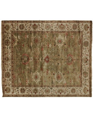 One-of-a-Kind Hand-Knotted 8' x 10'Wool Green Area Rug Aga John Oriental Rugs