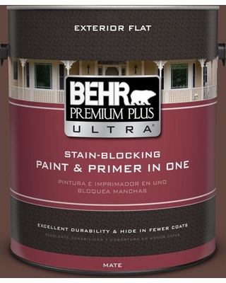 BEHR ULTRA 1 gal. #180F-7 Warm Brownie Flat Exterior Paint and Primer in One