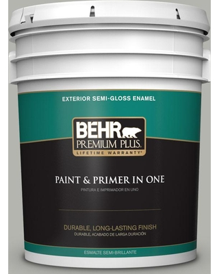 BEHR Premium Plus 5 gal. #PPU25-08 Heirloom Silver Semi-Gloss Enamel Exterior Paint and Primer in One