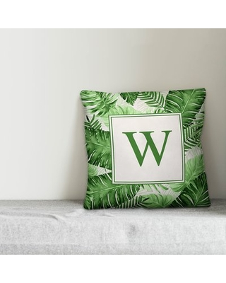 Blace Watercolor Palms Personalized Outdoor Throw Pillow Ebern Designs Customize: Yes
