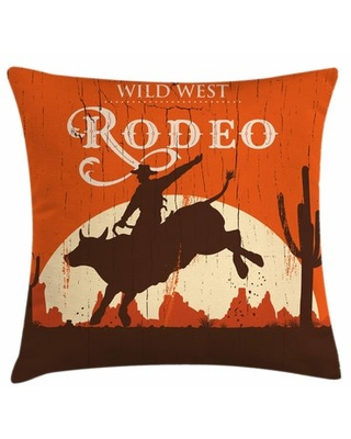 """Rodeo Cowboy Rides Bull Square Pillow Cover East Urban Home Size: 16"""" x 16"""""""