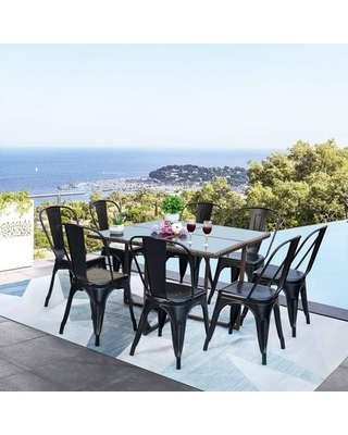 Vineego 9 Pieces Patio Dining Sets Outdoor Dining Table and Metal Dining Chairs(Black)