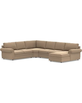 Pearce Roll Arm Upholstered Left Arm 4-Piece Wedge Sectional, Down Blend Wrapped Cushions, Performance Plush Velvet Camel