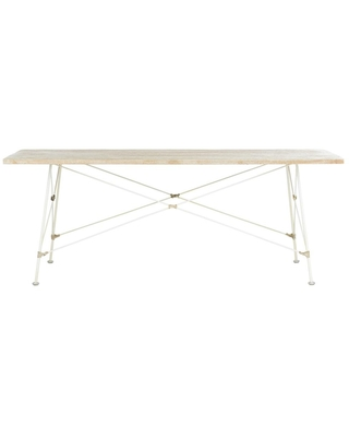Safavieh Cyprus 48 in. White Washed Large Rectangle Wood Coffee Table