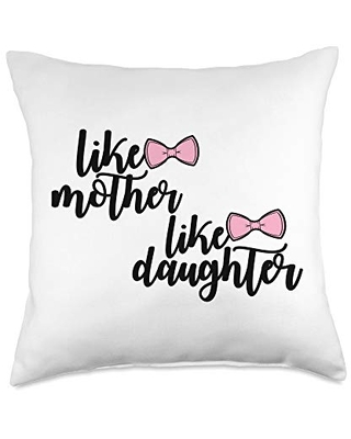 Mother's Day Designs Mom-Gifts Mother Like Daughter Mom of Girls Funny Mama Mommy Throw Pillow, 18x18, Multicolor