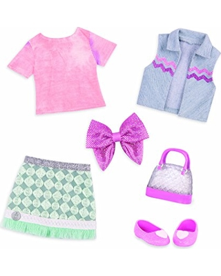 Glitter Girls by Battat – Dazzling Denim Skirt and Top Deluxe Outfit - 14 inch Doll Clothes and Accessories for Girls Age 3 and up– Children's Toys