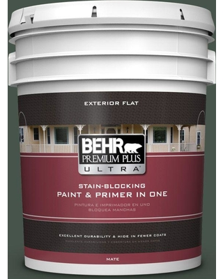 BEHR ULTRA 5 gal. #460F-7 Hazel Woods Flat Exterior Paint and Primer in One