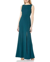 Jenny Yoo Women's Gia Open Back Boatneck Fit and Flare Crepe Gown, Caspian sea, 6