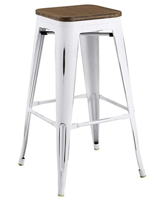 Modway Promenade Industrial Modern Steel Backless Bistro Bar Stool with Bamboo Seat in White