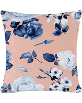 Blue/Pink Abstract Floral Print Throw Pillow - Cloth & Co, Soft Floral Porcelain Blush