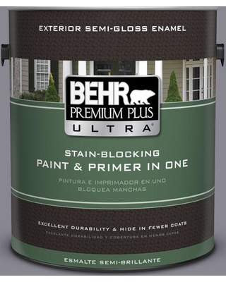 BEHR Premium Plus Ultra 1 gal. #N550-5 Box Office Semi-Gloss Enamel Exterior Paint and Primer in One