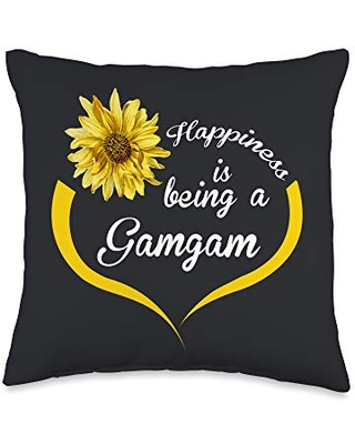 Gifts For Gamgam Gift: Happiness is Being A Gamgam Throw Pillow, 16x16, Multicolor