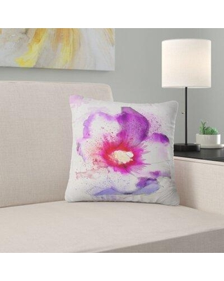 """East Urban Home Floral Beautiful Flower Watercolor Pillow FUSI4701 Size: 16"""" x 16"""" Product Type: Throw Pillow"""