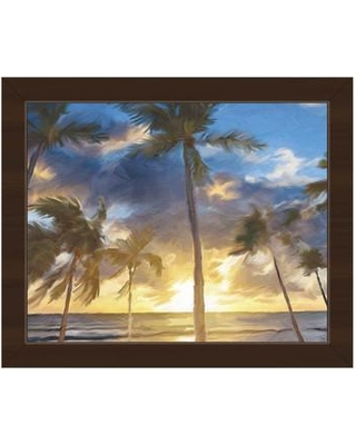 """Click Wall Art 'Sunset Beach' Framed Painting Print BHS0000516FRA Size: 13.5"""" H x 16.5"""" W Format: Espresso Framed"""