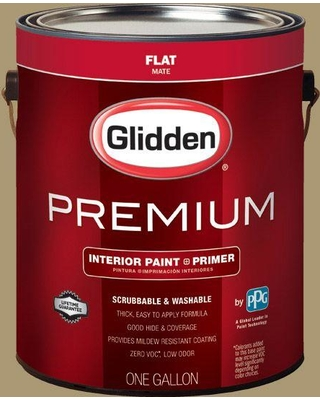 Glidden Premium 1 gal. #HDGY52D Olive Twig Flat Interior Paint with Primer