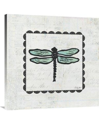 """East Urban Home 'Dragonfly Stamp' Graphic Art Print on Canvas ESUM6647 Size: 36"""" H x 36"""" W"""