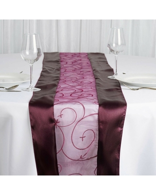 """Embroidered Table Runners Wedding Party Eggplant Purple - 14"""" x """"108 (Eggplant Purple - 14"""" x """"108)"""