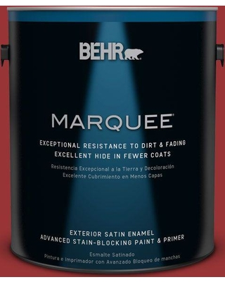 BEHR MARQUEE 1 gal. #ecc-10-3 Holly Berry Satin Enamel Exterior Paint and Primer in One, Reds/Pinks