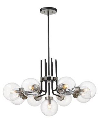 George Oliver Dawsonville 9 - Light Unique Classic Chandelier X113012451 Finish: Brushed Nickel Shade Color: Clear