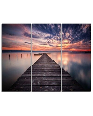 Design Art Colorful Sunset Over Lake - 3 Piece Graphic Art on Wrapped Canvas Set PT8351-3P