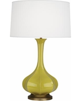 Robert Abbey Pike Citron Ceramic and Brass Table Lamp