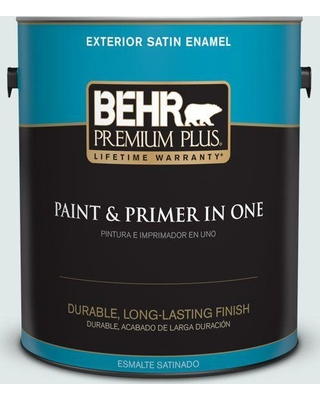 BEHR PREMIUM PLUS 1 gal. #W-D-520 Clear View Satin Enamel Exterior Paint and Primer in One