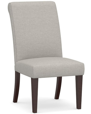 PB Comfort Roll Upholstered Dining Side Chair, Heathered Twill Stone