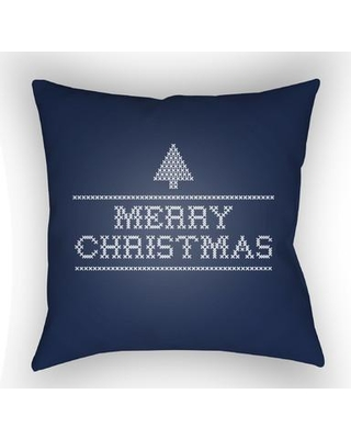 "The Holiday Aisle Merry Christmas III Indoor/Outdoor Throw Pillow THDA8988 Size: 18"" H x 18"" W x 4"" D Color: Neutral"