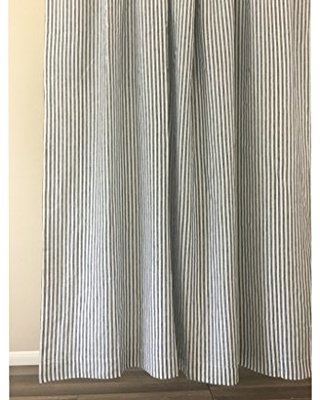 Slate Gray And White Striped Curtain