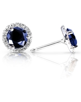 Annello by Kobelli 14k White Gold 1 1/2 Carat TGW Blue Sapphire and Diamond Halo Stud Earrings (White - Sapphire - Blue)