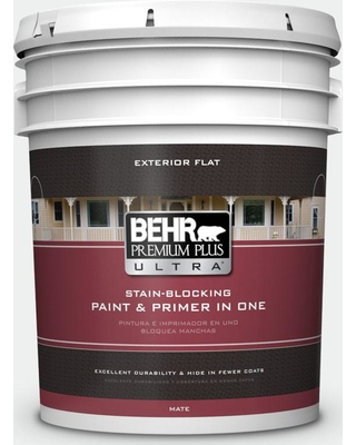 BEHR ULTRA 5 gal. #BL-W15 Frost Flat Exterior Paint and Primer in One