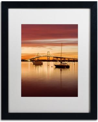 """Trademark Art Sunset Hues' Framed Photographic Print on Canvas ALI3904-B1 Matte Color: White Size: 20"""" H x 16"""" W x 0.5"""" D"""