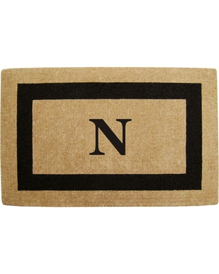 Nedia Home Single Picture Frame Black 30 in. x 48 in. HeavyDuty Coir Monogrammed N Door Mat, Browns/Tans