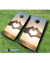 AJJ Cornhole 2' x 4' Love Sunset Solid Wood Cornhole Board 107-Love Sunset with red/ bags Bean Bag Color: Red/Black